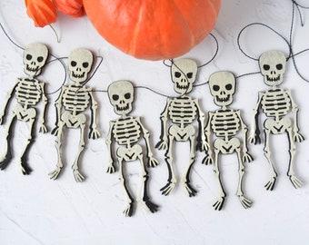 Halloween garland, Skeleton bunting, Spooky garland felt, Halloween decoration customizable