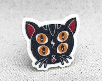 Four Eye Kitty // Brooch Lapel Pinback