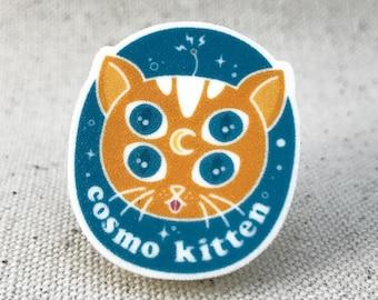 Cosmo Space Cat Kitten Pin // Brooch Pinback Lapel