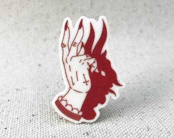Devil's Shadow Play Demon Tattoo// Brooch Lapel Pinback