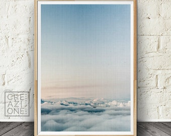 White clouds print, Sky wall art, Comtamporary wall decor, Sky photography, Printable nature art #067