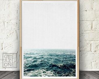 Sea waves print, Coastal wall art, Summer decor, Water, Tropical, Nature photography, Sea view digital art #063