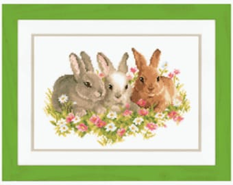 Vervaco Counted Cross Stitch Kit Three Rabbits PN-0143866