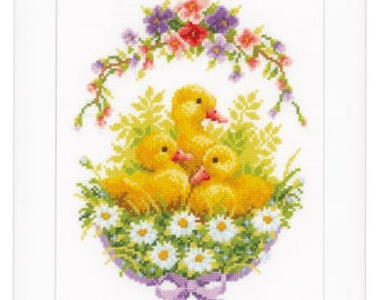 Vervaco Cross Stitch Kit Ducklings with Daisies III PN-0145636