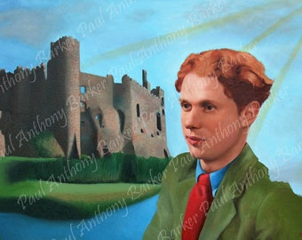 Dylan Thomas, poet portrait, wall art, free shipping, famous poet poetry, portrait painting print, giclee print, abstract, impressionism art