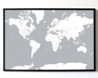 White U0026 Grey A1 Travel Map Of The World Print Wall Art Home Decor Shabby  Chic High Quality Poster
