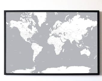 White & Grey A1 Minimalist Map of the World Travel Poster - High Quality Print