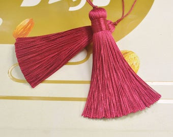 "Chinese Red|4/"" Small Tassel|Merlot Black Cherry Set of 10 Maroon VNT12"