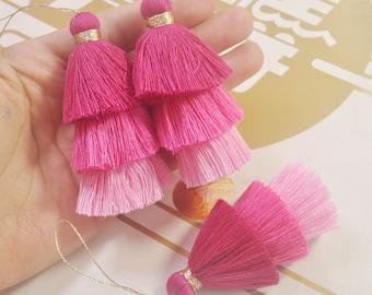 Handmade /%100 Cotton Mini Boho Tassels Yoga Tassels Mala Tassels 2 pieces TAS-132 Dark Violet Hippie Tassel