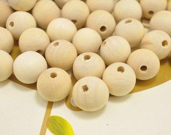 Natural Untreated Bois Perles rondes en bois Perles 8 10 12 14 16 18 20 mm