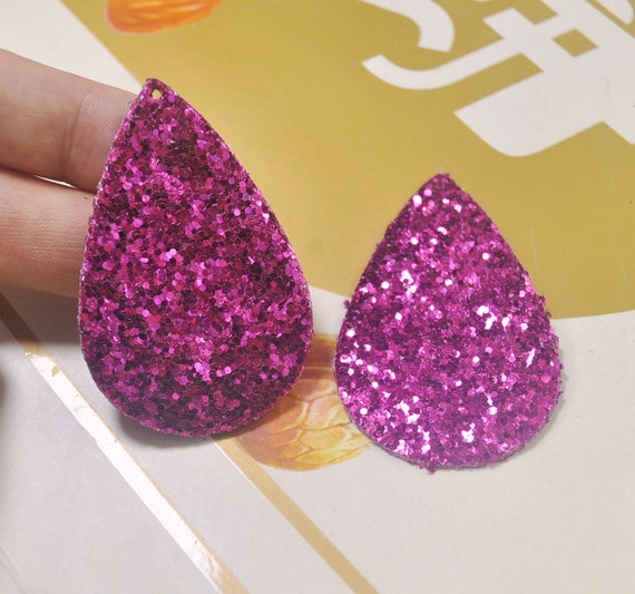 8Pcs Deep Rose Glitter Leather oxhead With hole oxhead Earring Supplies,Faux Leather Die Cut oxhead shape,DIY Earring-51x52mm VC4249#