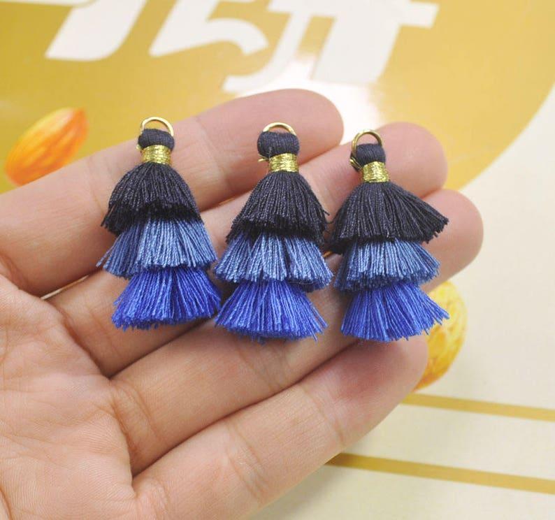 5Pcs Three Tier Tassel,1.5 Handmade Cotton Tassel for EarringNecklace Making,Tiered Tassels Fashion Tassels,Jewelry Tassels VC02# DIY