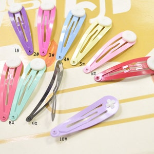 50 mm 2 50pcs Blank Barrette Snap Clips with Glue PadsLight green Hair ClipTear Drop Clip