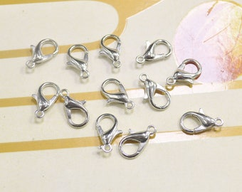 100Pcs White K Lobster Clasps / Claw Clasp / Lobster Clasps / 12x7mm / Metal Clasps Necklace or bracelet Making Supplies
