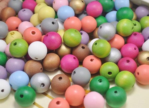 100 Stücke Groß Runde Holzperlen Spacer Perlen Schmuckherstellung