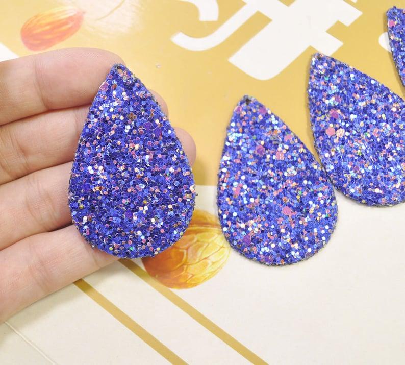 8Pcs Royal Blue Glitter Leather Teardrop shape,Teardrop Earring Supplies,Faux Leather Die Cut Teardrop,DIY Earring-56x36mm VC4198#