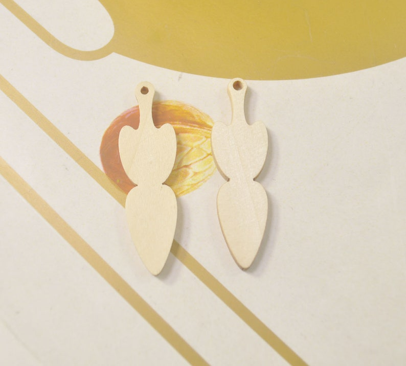 45x13mm 12Pcs,DIY Unfinished Laser Cut Wood Pendant,Natural Wood Earrings Blanks,Natural Wood Jewelry Wood Shapes,Long wood Drop Shape