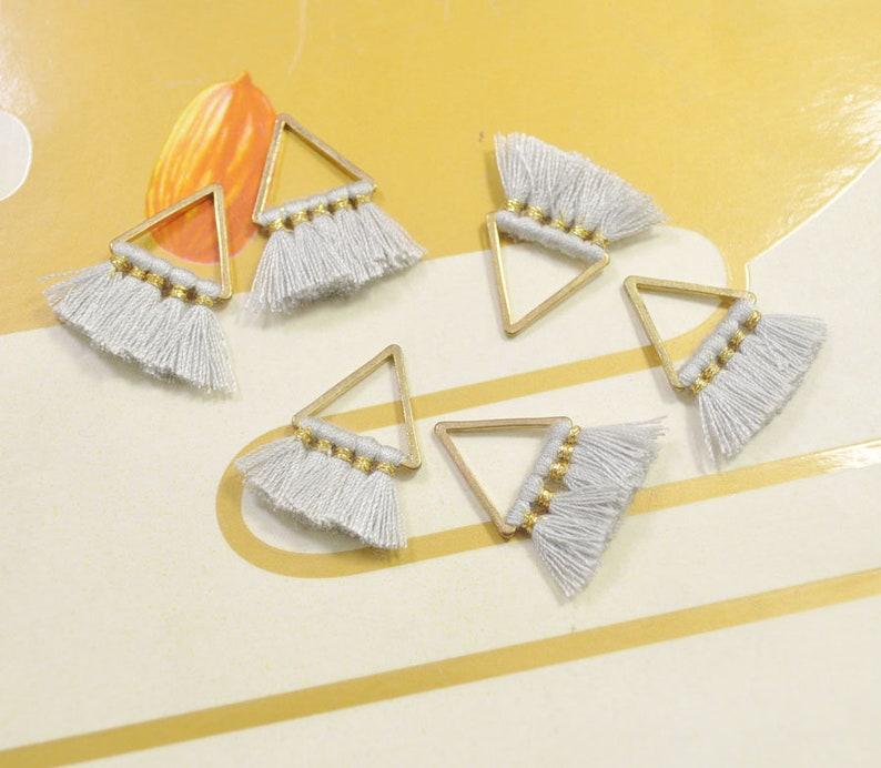 VC11# 6 Pieces Fashion Jewelry Making Supply Ligth Gray Tassel,cotton tassel,triangle tassel pendant,earring tassels