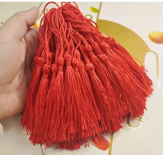 100Pcs Red silk tassels,3 inch silky Mini Tassels,Hand Made Silk Thread Tassels,tassel charm pendant,Tassel supply,Wholesale--VC1#