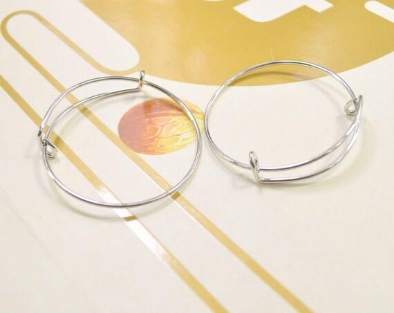 10Pcs Baby Bangles,59mm Adjustable Bangle Bracelet,Children/'s bangle bracelet,Silver plated,wired bracelet findings .