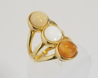 Multistones Ring - Statement Ring-Coctail Ring- Boho Ring- Anniversary Gift - Bridesmaids Gift - Mother Of Pearl-Amazonite - Red Agate