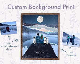 Custom Background Print, Personalised couples print, Family Print, Custom View Print, Wedding Gift, Anniversary Gift, Personalised Print
