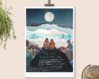Couples Life Quote Print, Secret life of Walter Mitty, Landscape print, Couples Wedding Gift, Inspirational Print, Custom travel print, A4