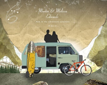Personalised Camper Van Adventure Print, Wedding Gift Art, Traveller, Custom Anniversary Print, Gift for Couple, Together [Custom print]