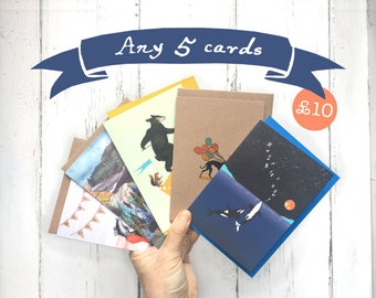 Pack of 5 cards   5 for 10   Card bundle   Choose any 5   Pack of blank cards