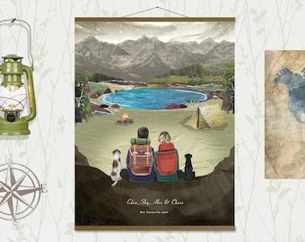 Personalised camping print, Couples custom print, Anniversary print, Wedding gift, Engagement, Pets print, Personalised print, Family Print