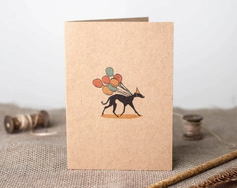 Whippet Card, Greyhound Card, Lurcher Card, Vegan Friendly Card, Rustic, Recycled, Ink drawing, Eco Friendly Card