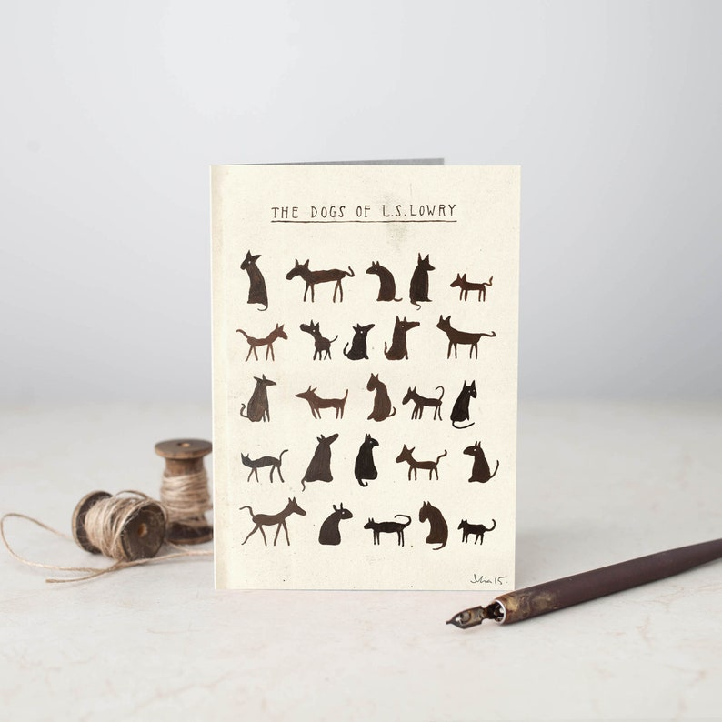 Greetings Card The Dogs of L S Lowry