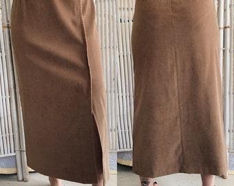 Vintage Faux Suede MidiMaxi Skirt