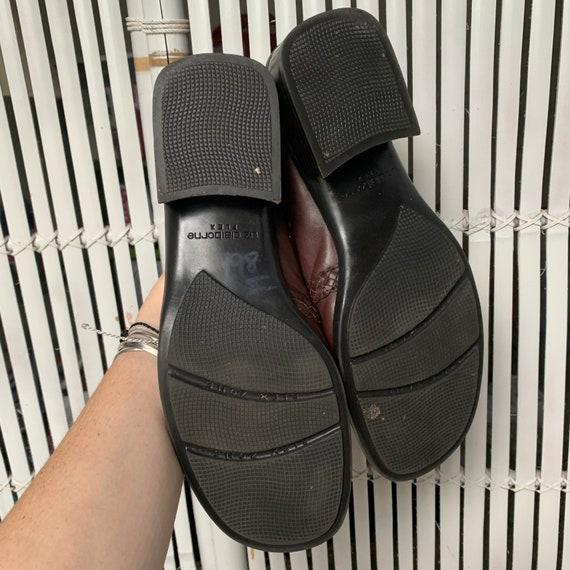 Vintage 90s Leather & Tweed Loafers / Mules — siz… - image 3