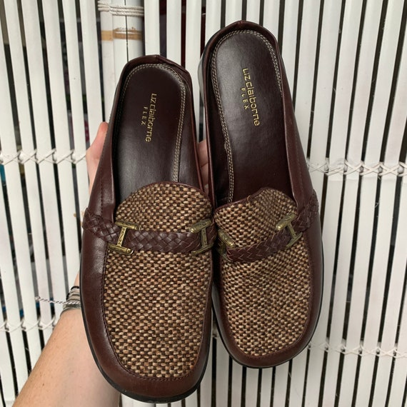 Vintage 90s Leather & Tweed Loafers / Mules — siz… - image 2
