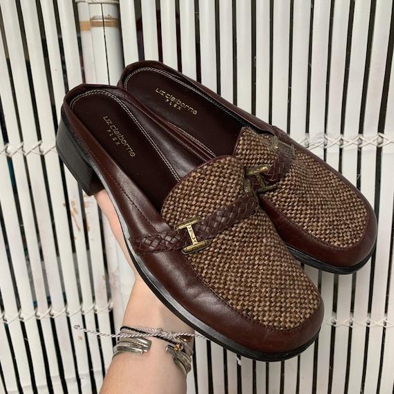 Vintage 90s Leather & Tweed Loafers / Mules — siz… - image 1