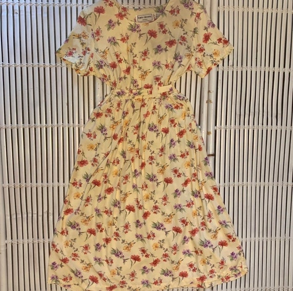 Vintage 80s Yellow Floral Midi Dress