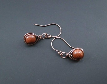 Goldstone Earrings, Copper Earrings, Wire Wrapped Jewelry, Wire Wrap Earring, Wire Jewellery, Gemstone Jewellery, Copper Jewellery