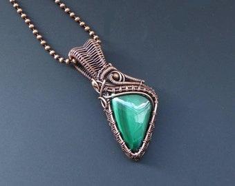 Malachite Pendant, Copper Pendant, Wire Wrapped Pendant, Copper Jewellery, Wire Wrapped Jewelry, Gemstone Pendant, Assymetrical Pendant