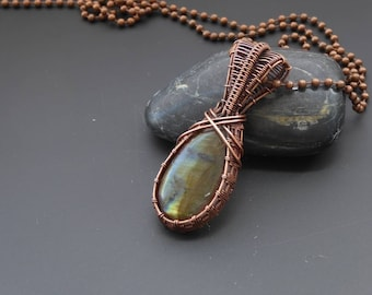 Labradorite pendant, wire jewellery, labradorite necklace, wire wrapped pendant, gemstone pendant, wire wrapped jewelry, boho jewellery