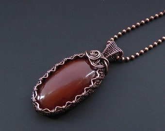 Carnelian Pendant, Wire Jewellery, Copper Pendant, Wire Wrapped Pendant, Wire Pendant, Gemstone Jewellery, Carnelian Jewellery