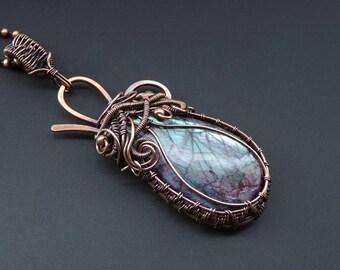 Labradorite Pendant, Wire Jewellery, Copper Pendant, Wire Wrapped Pendant, Copper Jewellery, Statement Pendant, Labradorite Jewellery