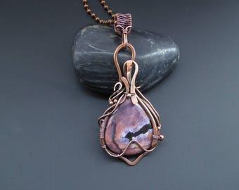Tiffany Pendant, Copper Pendant, Wire Wrapped Pendant, Handmade Jewellery, Wire Wrapped Jewelry, Tiffany Stone Pendant, Copper Jewellery