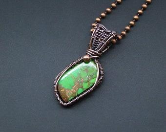 Jasper Pendant, Copper Necklace, Wire Wrapped Pendant, Wire Wrapped Jewelry, Dainty Pendant, Tree Pendant