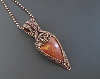 Noreen Jasper Pendant, Copper Pendant, Wire Wrapped Pendant, Copper Jewellery, Wire Wrapped Jewelry, Gemstone Pendant,