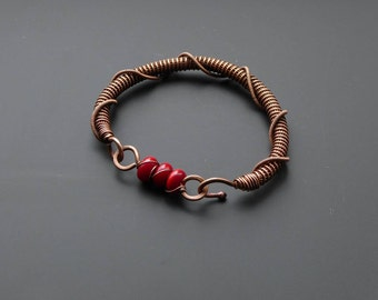 Copper bracelet, wire wrapped jewellery, copper jewelry, lampwork bracelet, wire wrapping, copper bangle, red bracelet, handmade jewellery