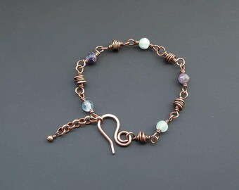 Flourite Bracelet, Gemstone Jewellery, Copper Jewelry, Wire Jewellery, Handmade, Wire Wrapped Jewellery, Copper Bracelet, UK Seller