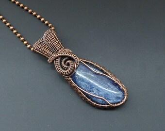 Kyanite Pendant, Copper Pendant, Wire Wrapped Pendant, Copper Jewellery, Wire Wrapped Jewelry, Gemstone Pendant,