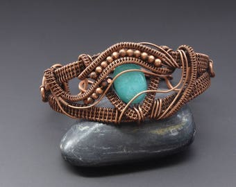 Aquamarine Bracelet, Wire Jewellery, Copper Bracelet, Wire Wrapped Jewellery, Wire Wrapping, Cuff Bracelet, Copper Jewellery