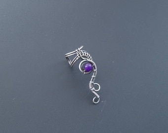 Amethyst Ear Cuff, Wire Wrapped Jewellery, Woven Ear Cuff, Handmade Jewellery, Clip On Earrings, Gemstone Jewellery, Silver Jewellery